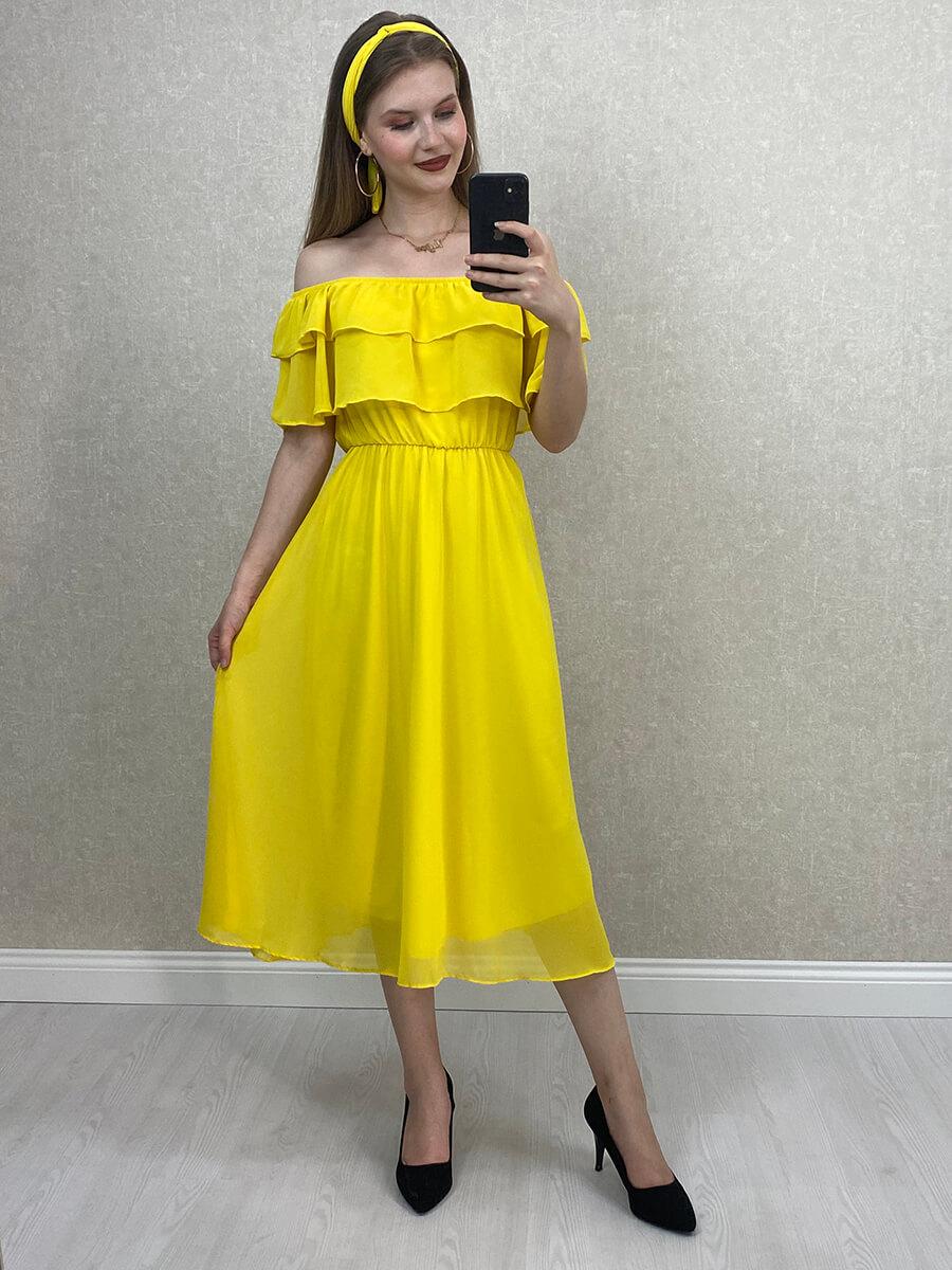 Düşük Omuz Sarı Şifon Midi Elbise