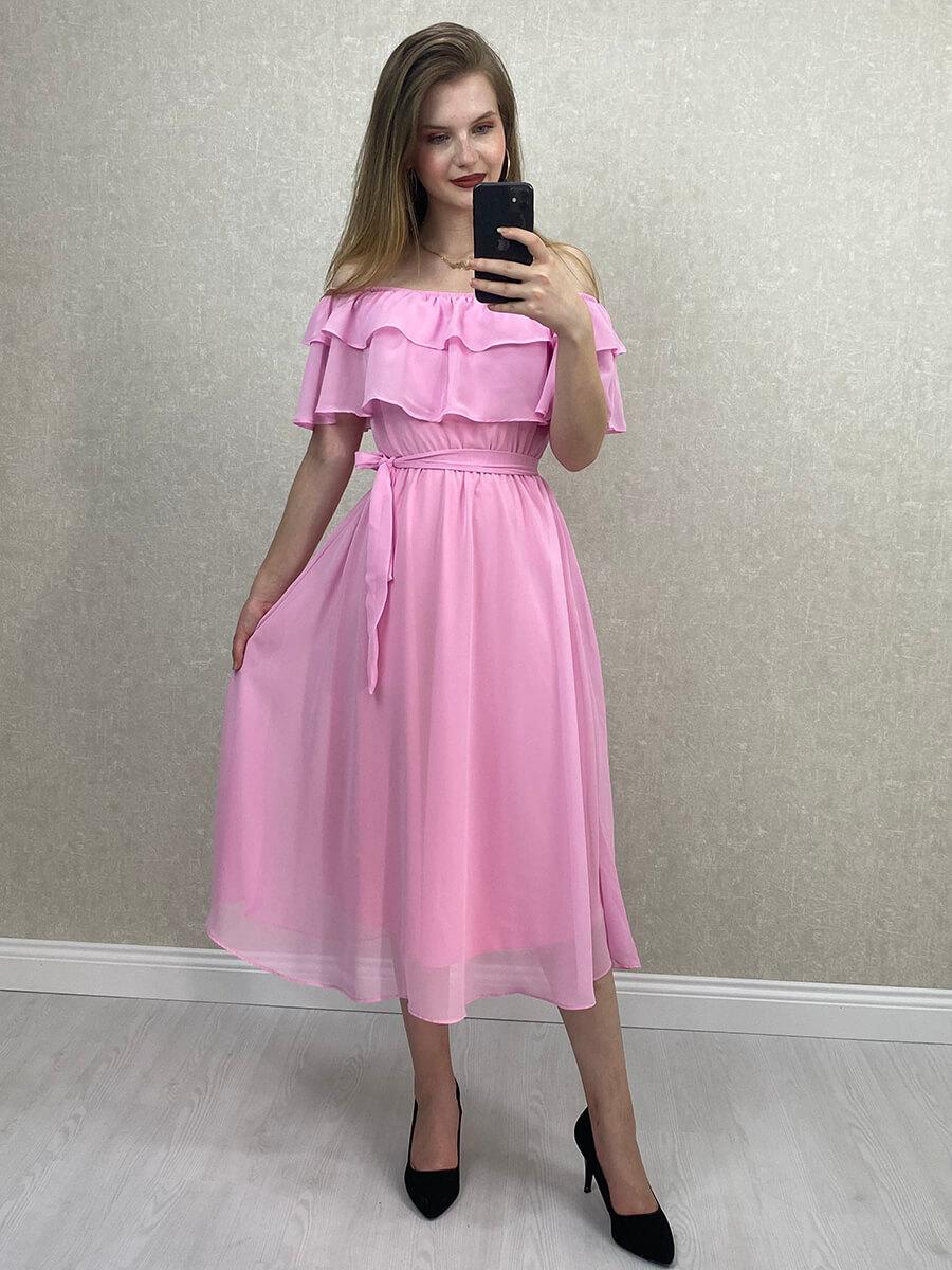Düşük Omuz Pembe Şifon Midi Elbise