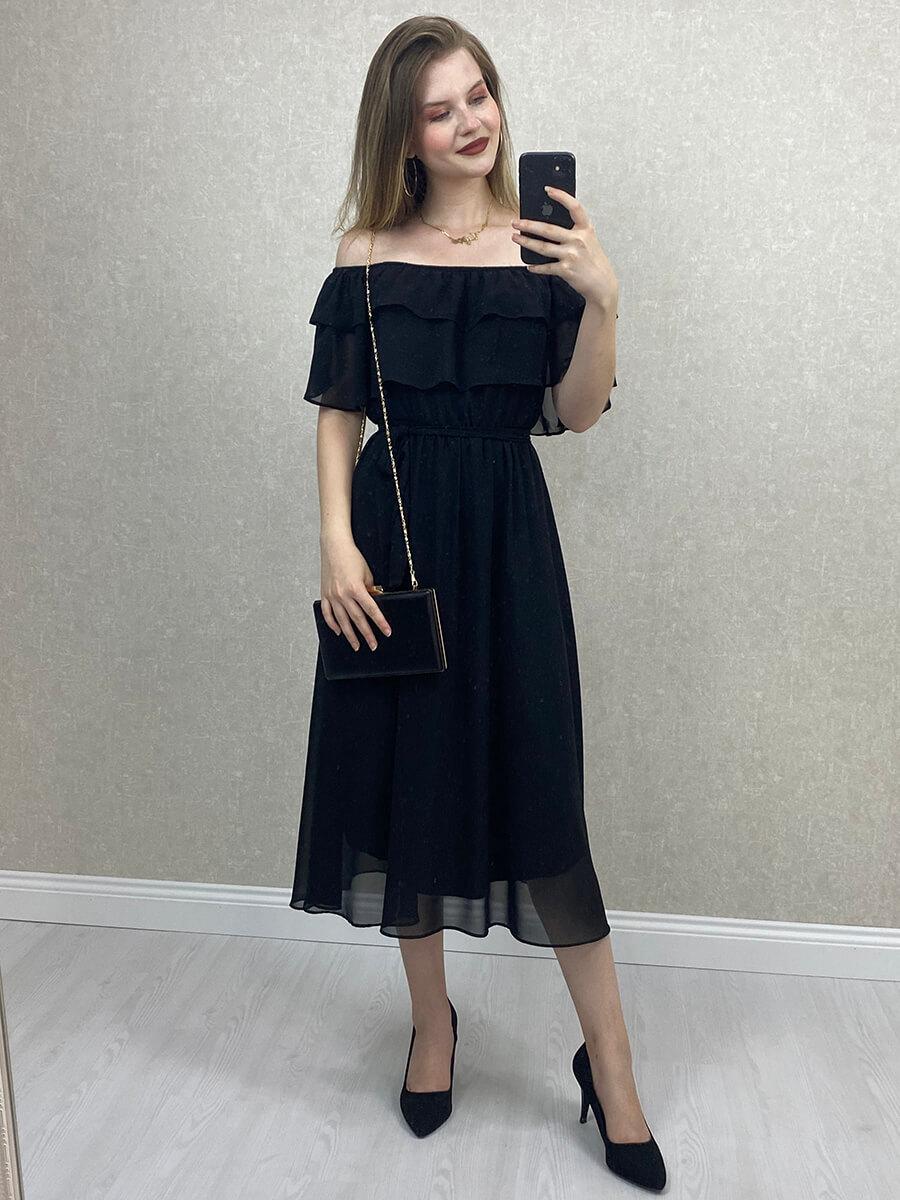 Düşük Omuz Siyah Midi Şifon Elbise