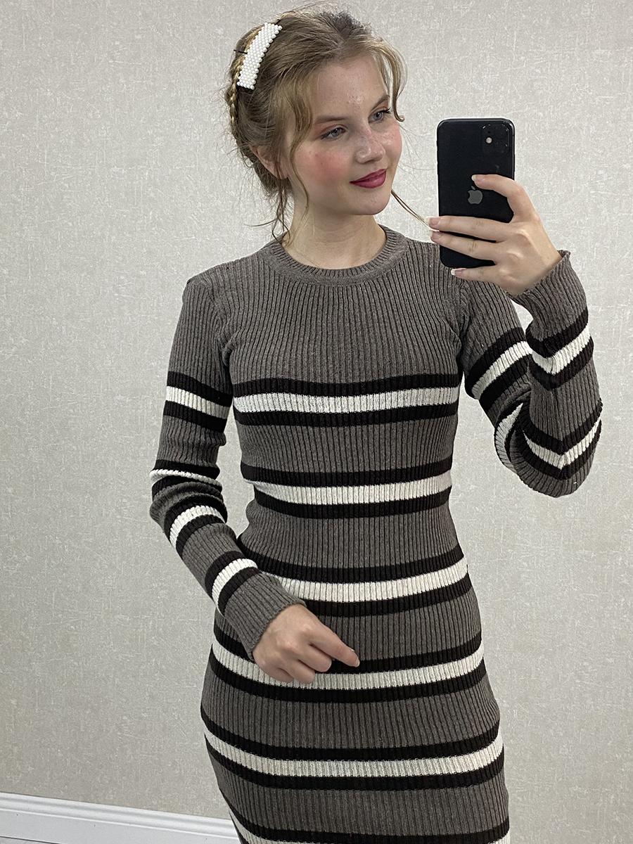 Siyah Beyaz Çizgili Gri Midi Triko Elbise
