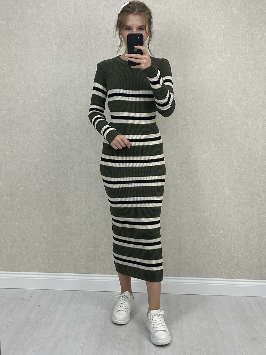 Siyah Beyaz Çizgili Haki Midi Triko Elbise