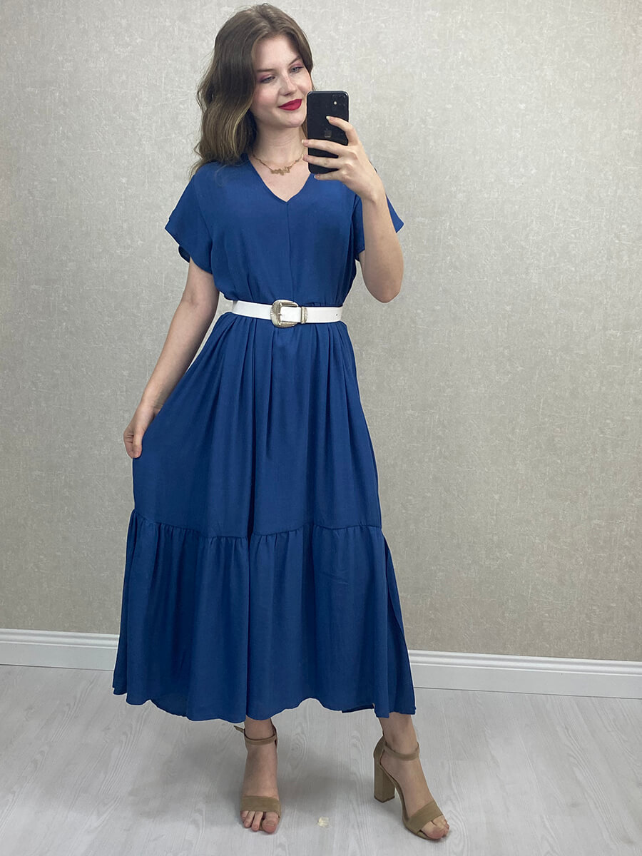 V Yaka Salaş Uzun Elbise - Lacivert