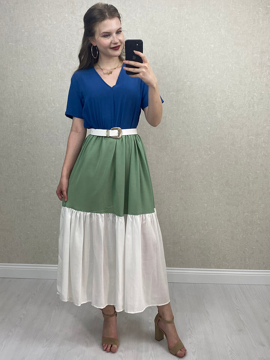 Salaş Uzun Elbise - Çok Renkli Lacivert