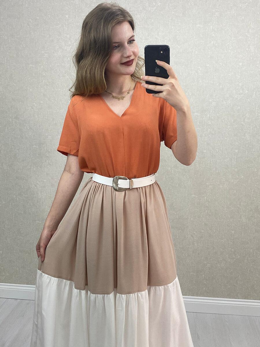 Salaş Uzun Elbise - Çok Renkli Kiremit