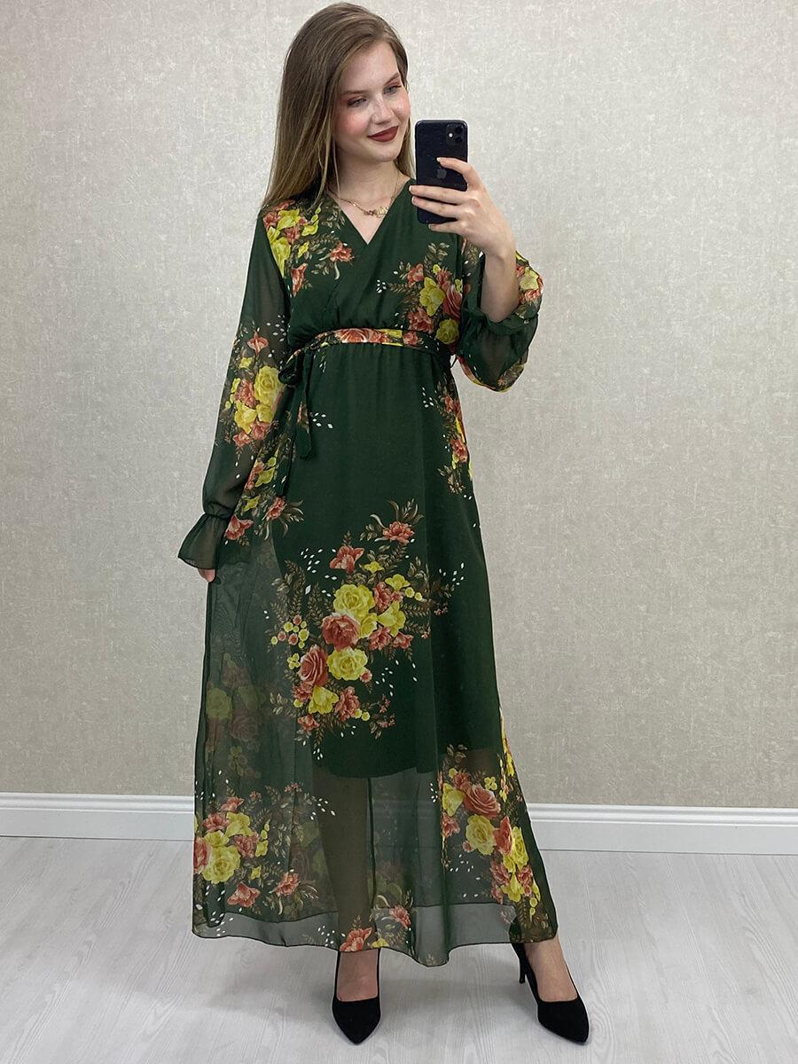Kruvaze Yaka Çiçek Desenli Uzun Şifon Elbise