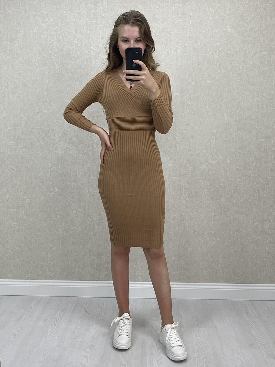 Kruvaze Yaka Kahverengi Midi Triko Elbise