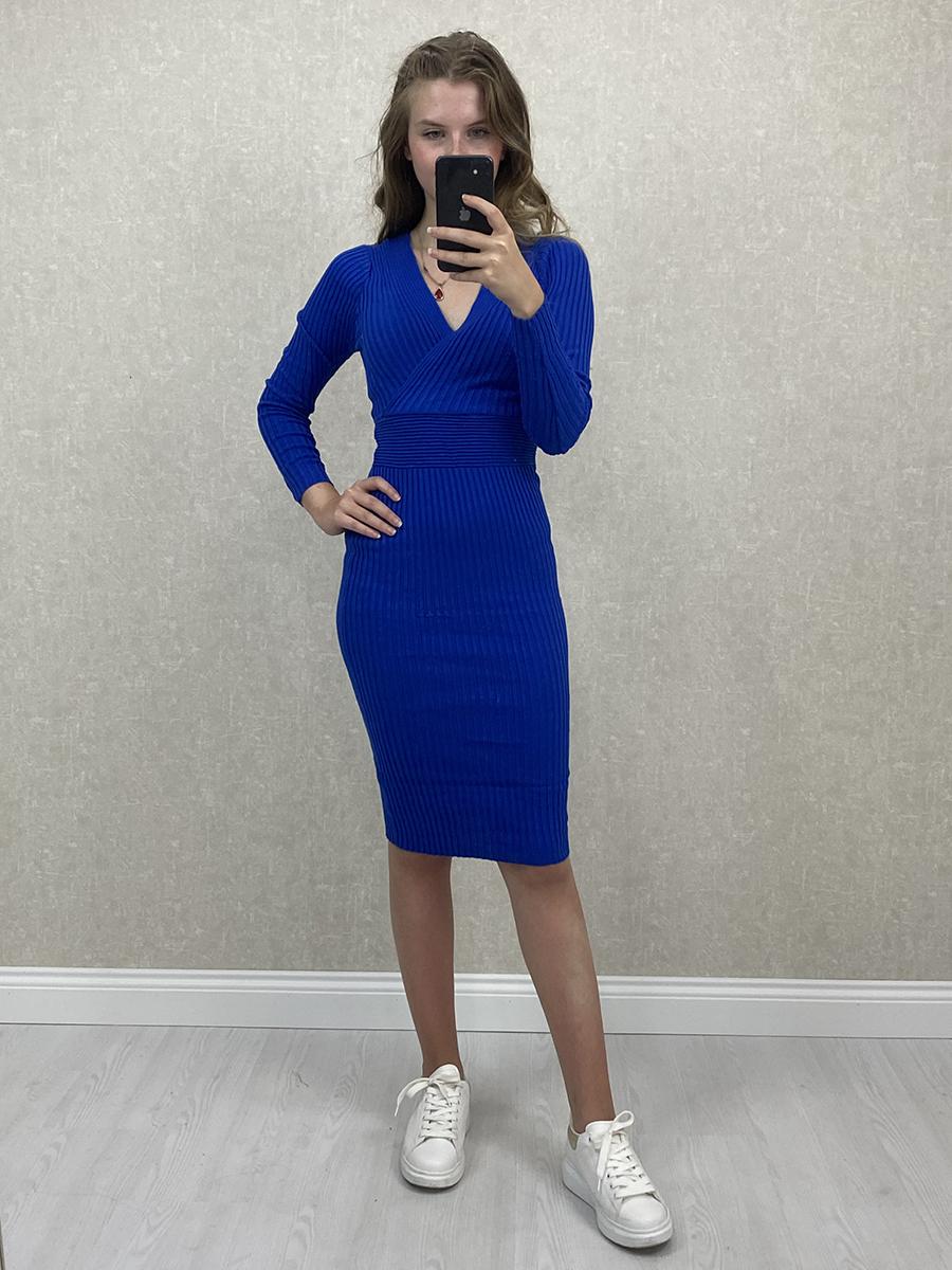 Kruvaze Yaka Mavi Midi Triko Elbise