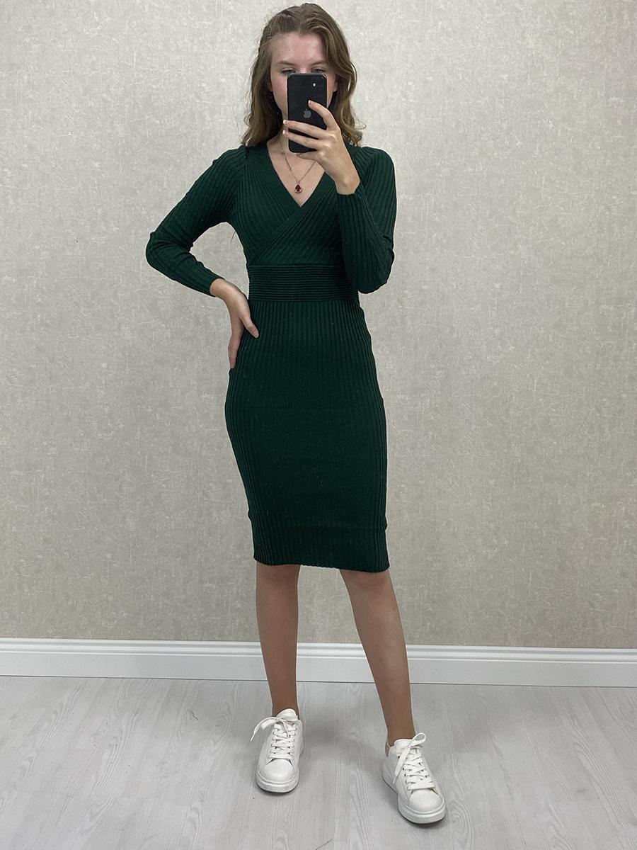 Kruvaze Yaka Yeşil Midi Triko Elbise