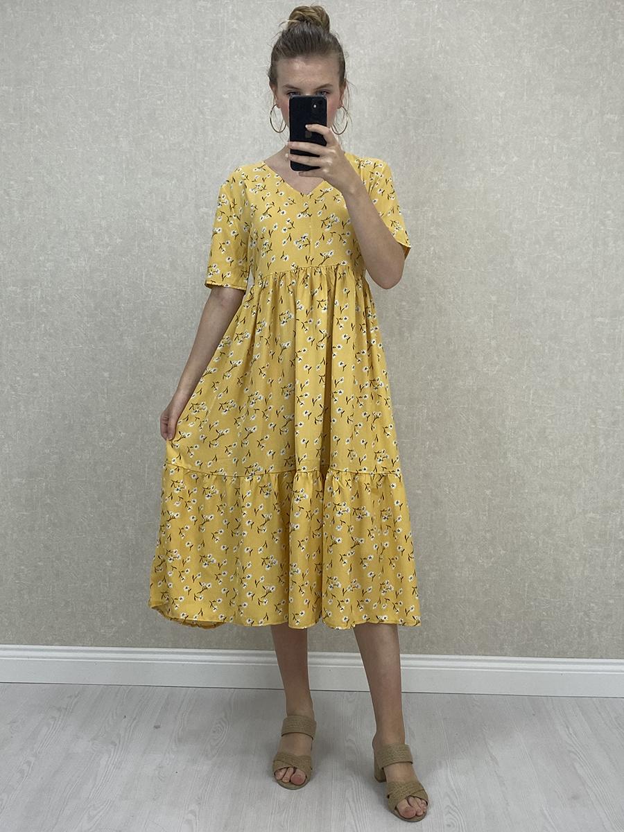 Bol Kesim Viskon Papatyalı Sarı Midi Elbise