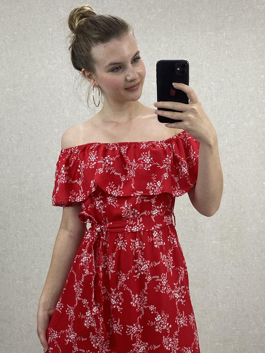 Madonna Yaka Kuşaklı Kırmızı Çiçekli Midi Elbise