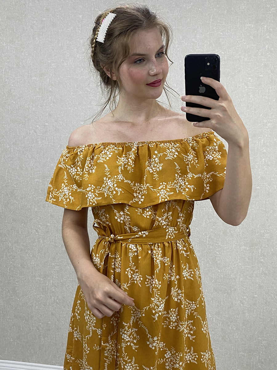 Madonna Yaka Kuşaklı Sarı Çiçekli Midi Elbise