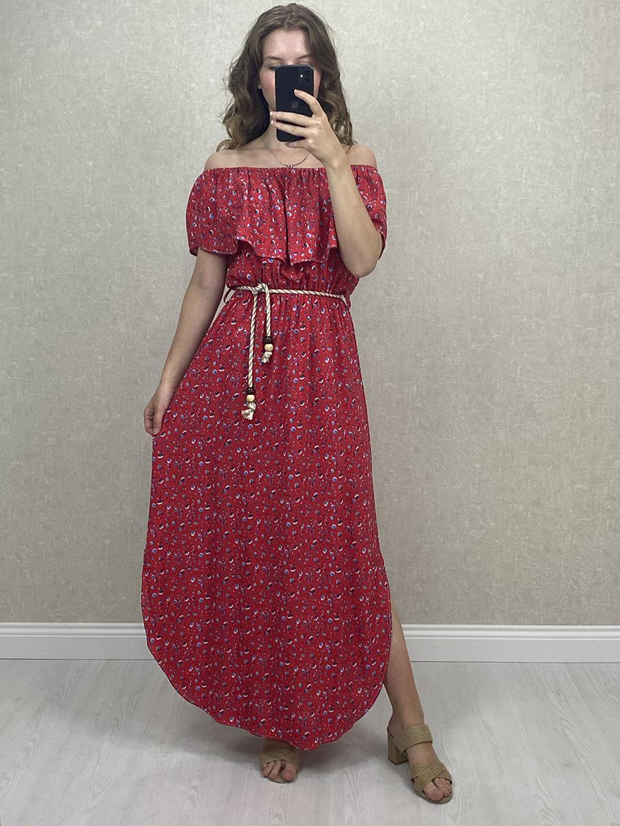 Yanı Yırtmaçlı Kırmızı Çiçekli Uzun Elbise