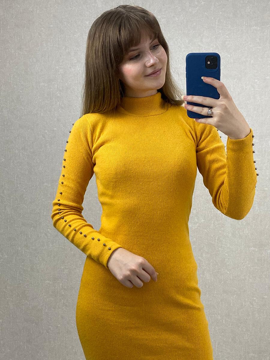 Yırtmaçlı Boncuklu Sarı Midi Triko Elbise