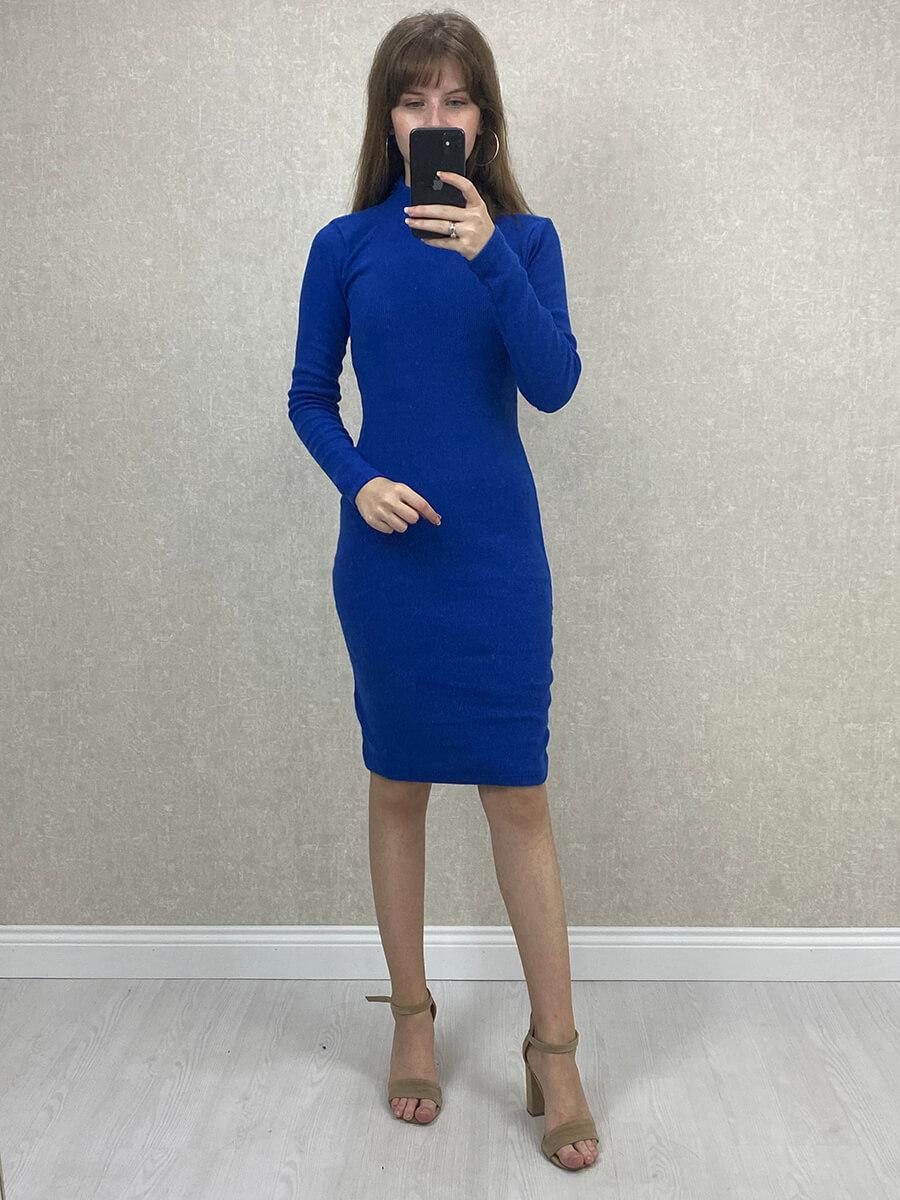 Yarım Boğazlı Mavi Mini Boy Triko Elbise