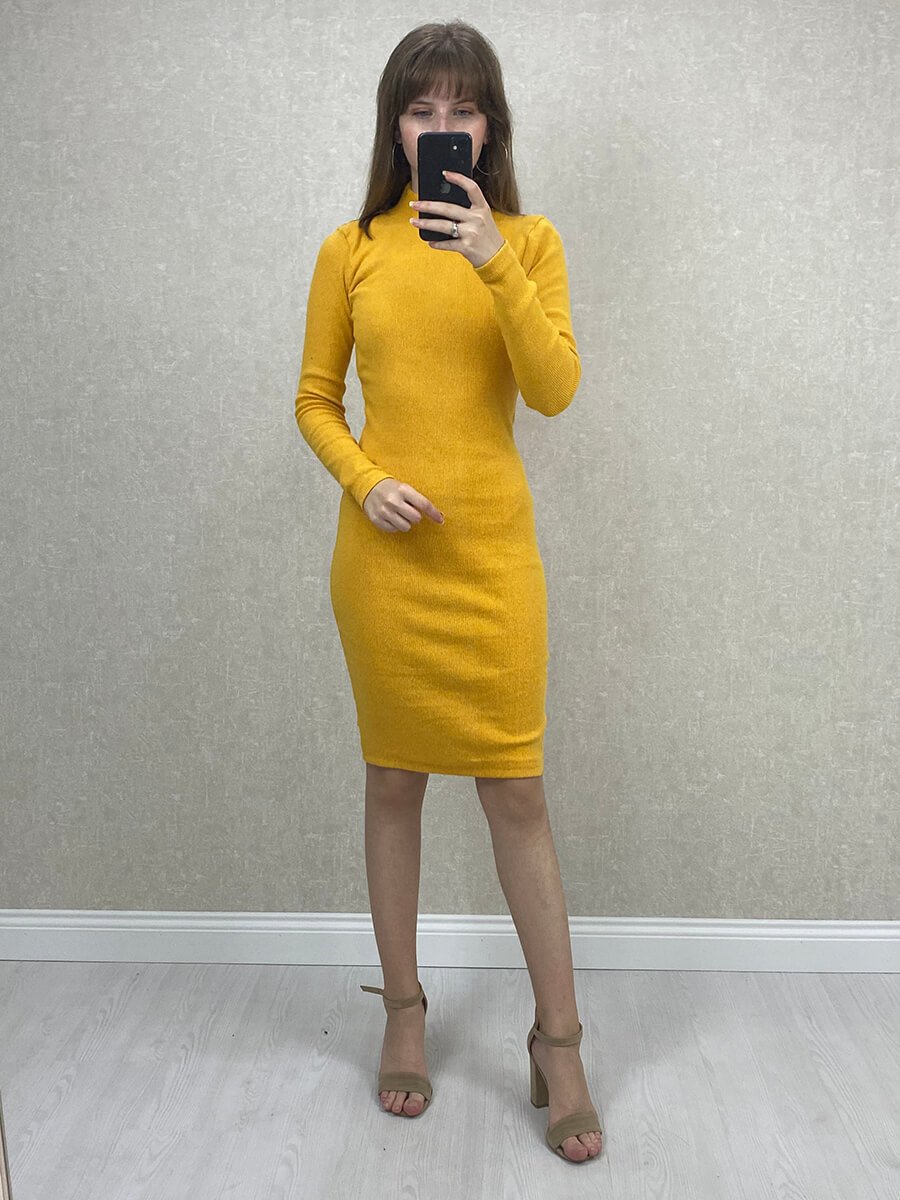 Yarım Boğazlı Sarı Mini Boy Triko Elbise