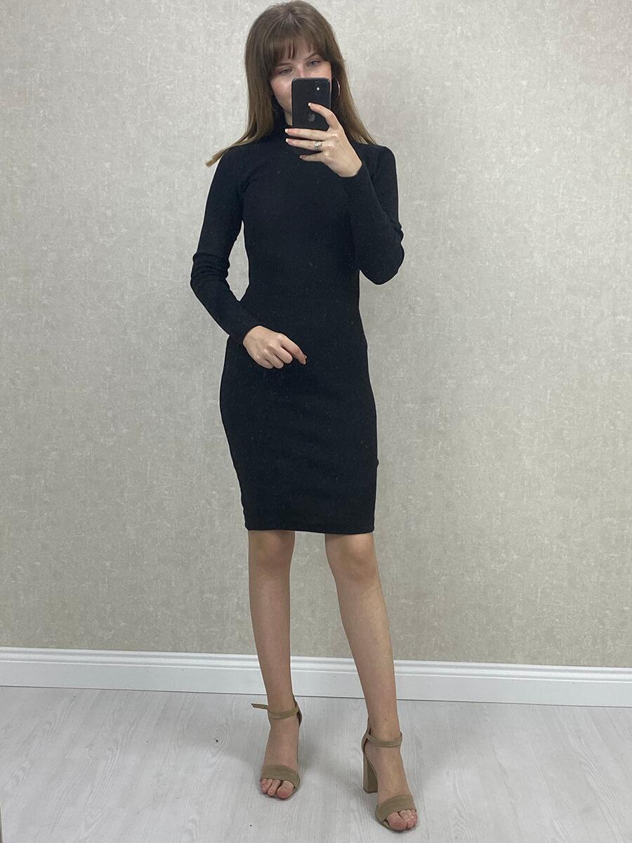 Yarım Boğazlı Siyah Mini Boy Triko Elbise