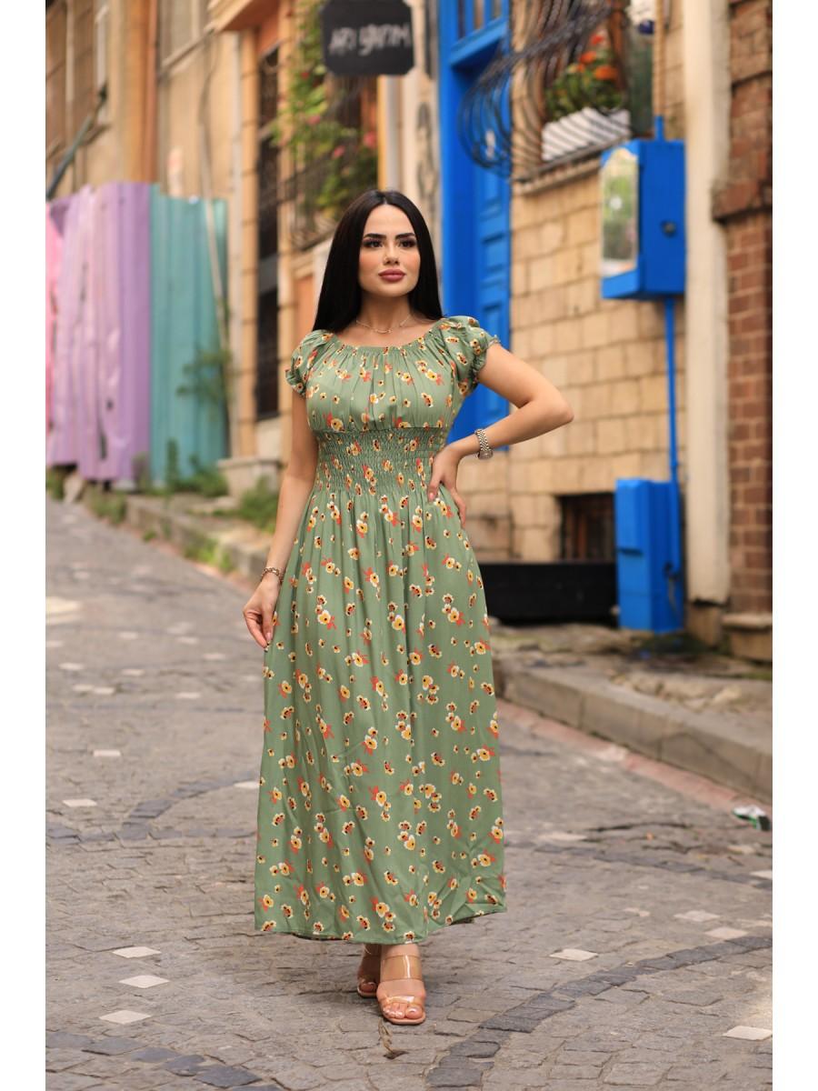 Viskon Kumaş Çiçek Desenli Yazlık Elbise